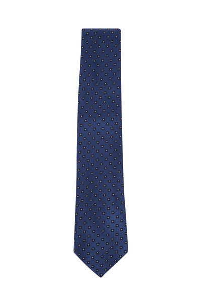 Kiton - Blue Tonal Mini Medallion Silk Necktie