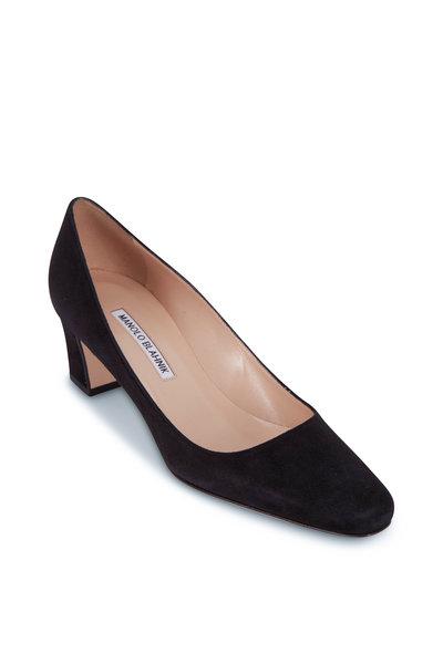 Manolo Blahnik - Black Suede Square Toe Heel, 50mm