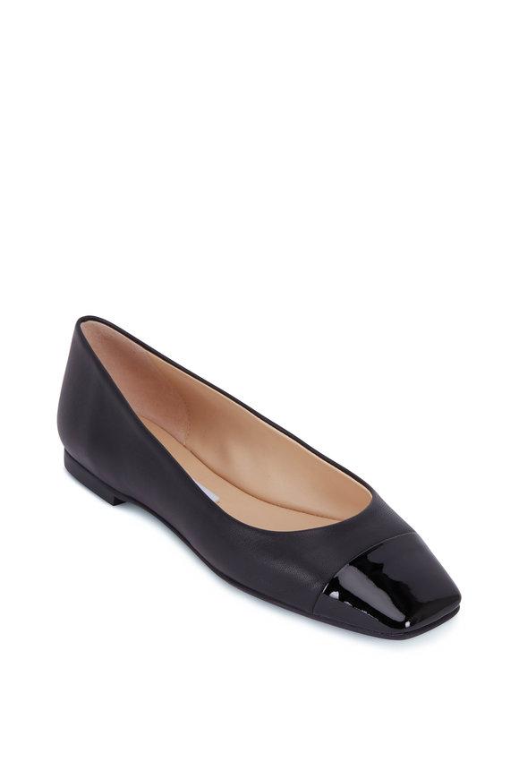 Jimmy Choo Gisela Black Leather & Patent Cap Toe Flat