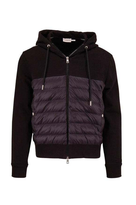 Moncler Black Quilted Front Hoodie