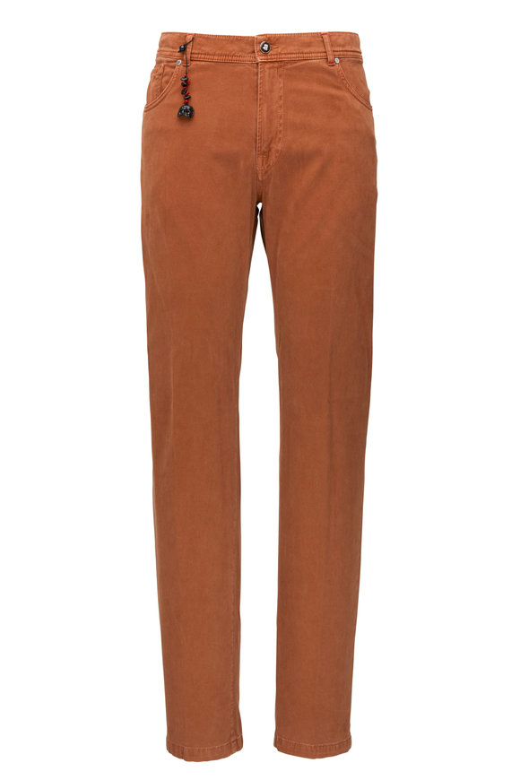 Marco Pescarolo Rust Stretch Cotton & Cashmere Five Pocket Pant