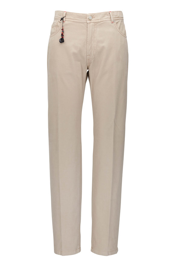 Marco Pescarolo Khaki Stretch Cotton & Cashmere Five Pocket Pant