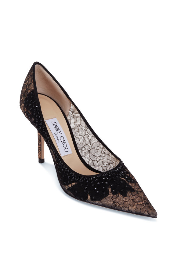 Jimmy Choo Black Floral Lace Pointed Pump, 85mm