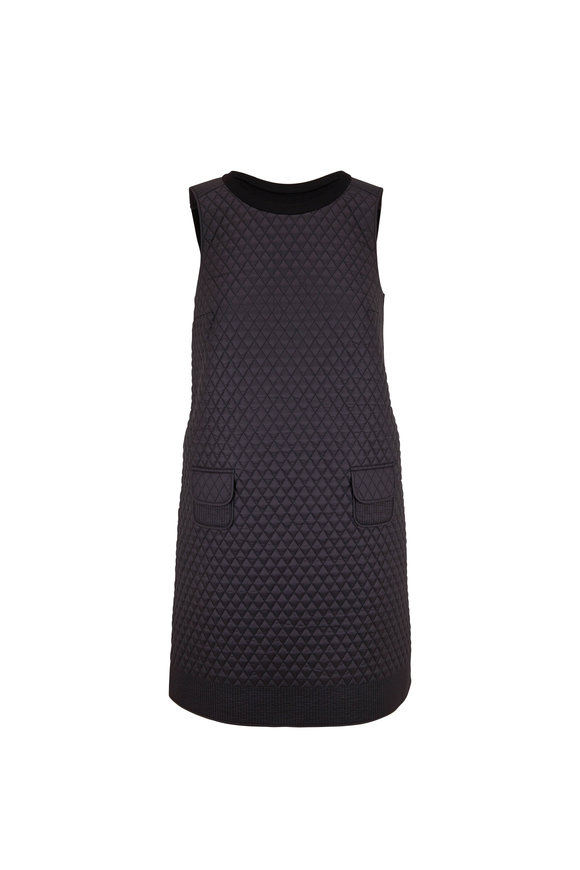 Paule Ka Black Quilted Front Sleeveless Dress