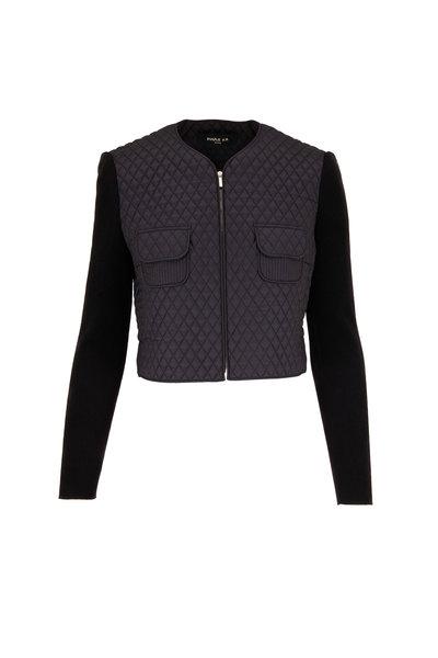 Paule Ka - Black Quilted Mixed Media Jacket