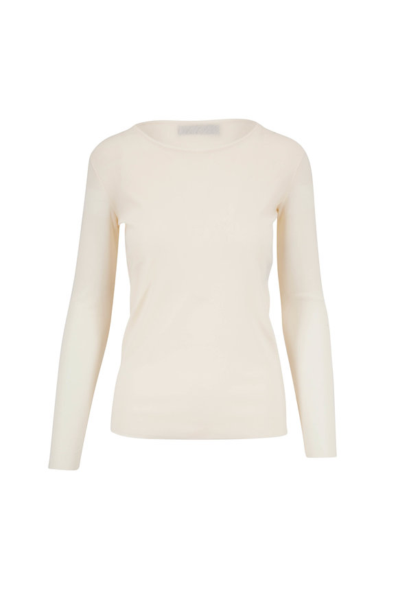 D.Exterior Ivory Stretch Tulle Crewneck Top