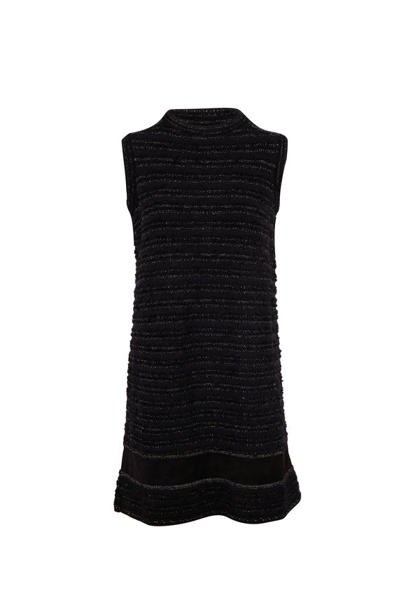 D.Exterior Black Bouclé Tweed Sleeveless Shift Dress
