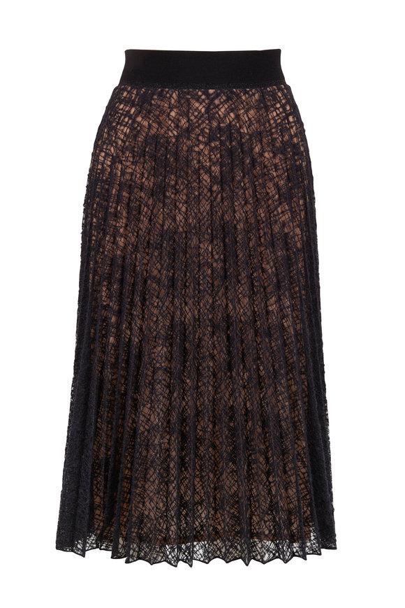 D.Exterior Black & Nude Spider Web Embroidered Plissé Skirt