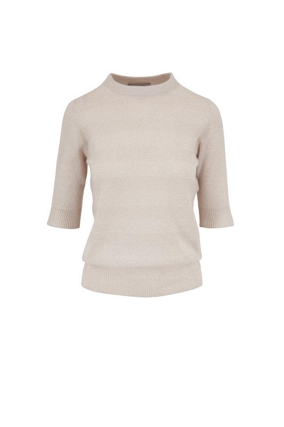 D.Exterior Ivory Cashmere Lurex Stripe Knit Top