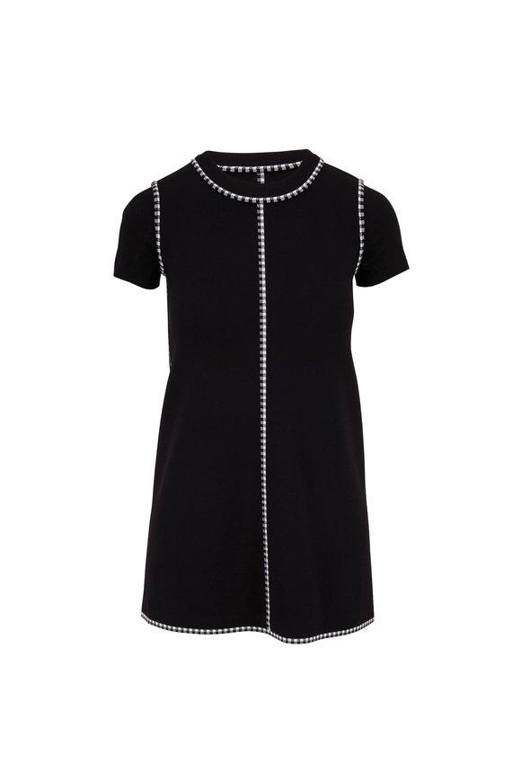 Paule Ka Black & White Short Sleeve Shift Dress
