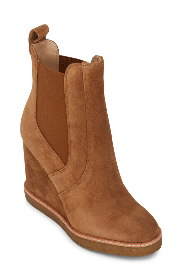 Veronica Beard Aari Walnut Suede Wedge Bootie, 100mm