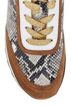 Veronica Beard - Hartley Walnut Suede & Python Print Sneaker