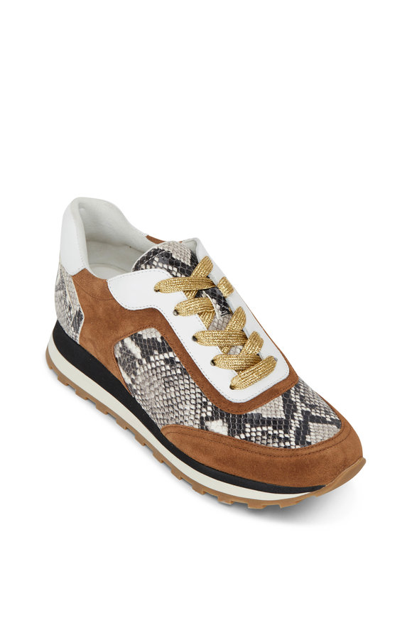 Veronica Beard Hartley Walnut Suede & Python Print Sneaker