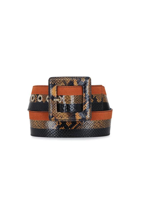 Veronica Beard Risa Multi Snake Print Leather Stripe Belt