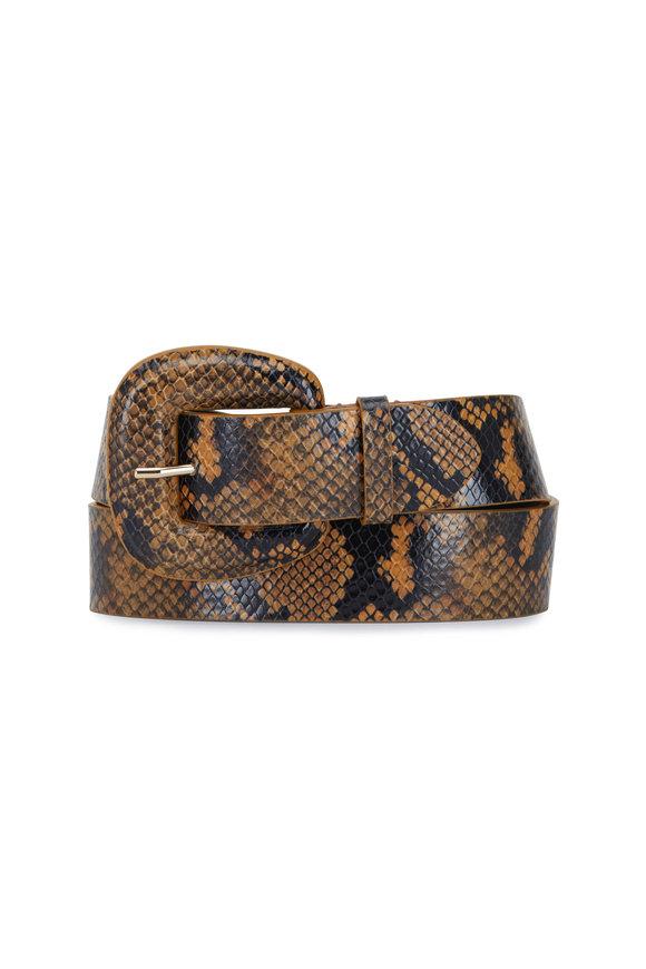 Veronica Beard Elsy Honey Snake Print Leather Belt