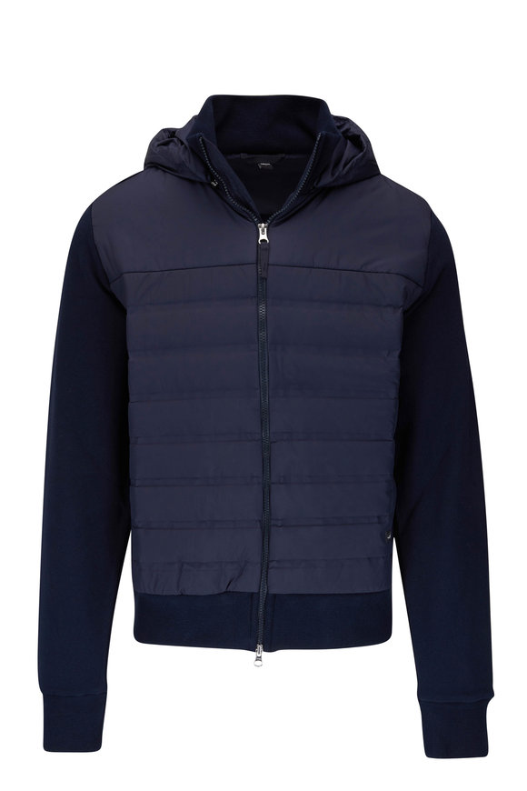 WAHTS Smith Navy Front Quilted Zip Jacket
