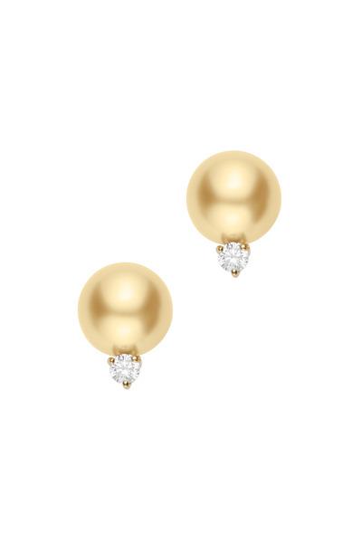 Mikimoto - Yellow Gold Golden Pearl Diamond Stud Earrings