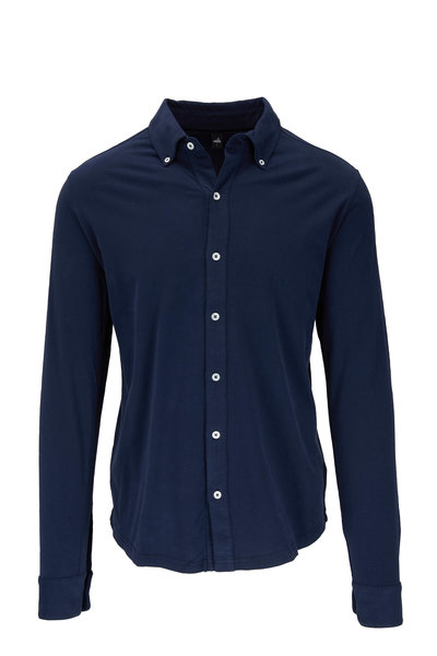 WAHTS - Fleming Navy Blue Jersey Button Down Shirt