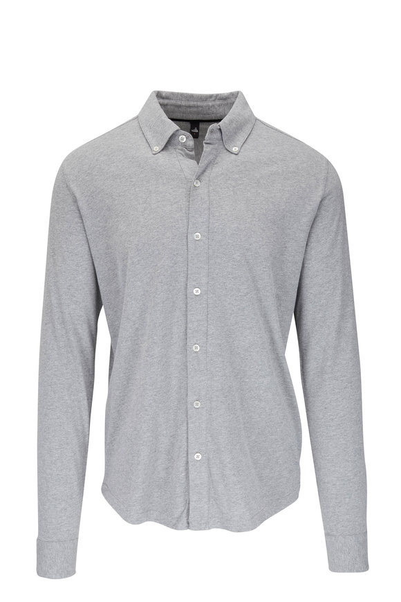 WAHTS Fleming Light Marled Gray Jersey Button Down Shirt
