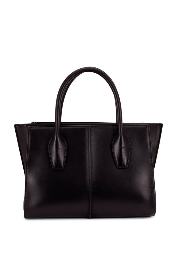 Tod's Manici Black Leather Medium Shopper Tote