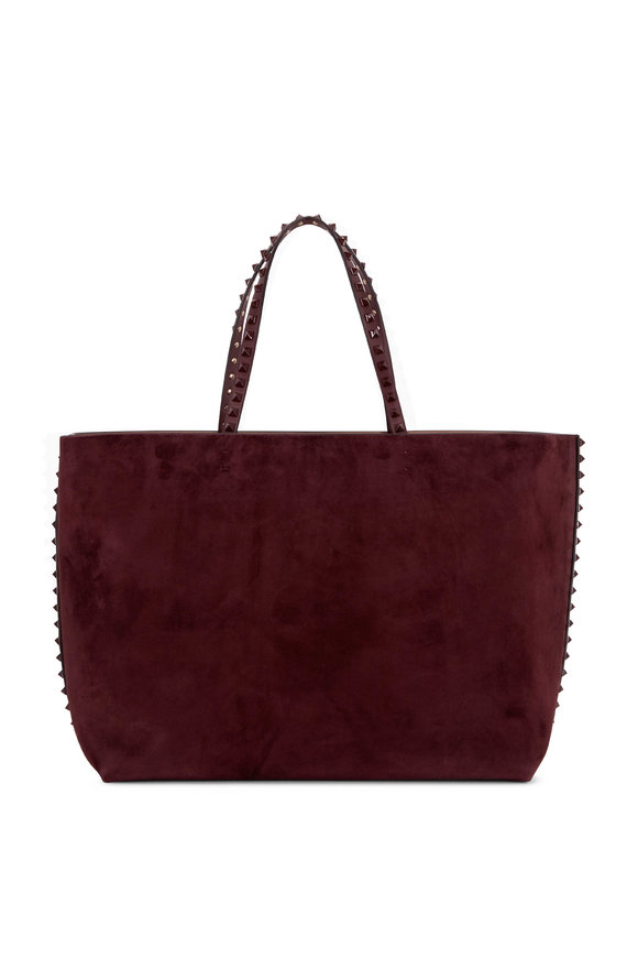 Valentino Garavani Purple Suede & Calfskin Leather Rockstud Tote
