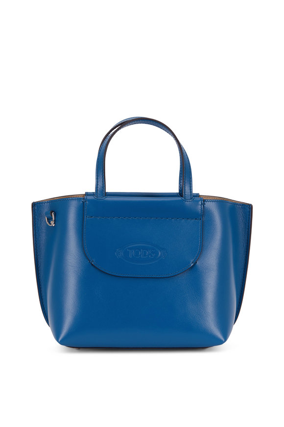 Tod's Blue Leather Logo Stamp Shopping Tote