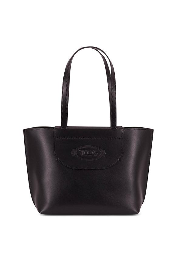 Tod's Black Leather Logo Stamp Medium Shopping Tote
