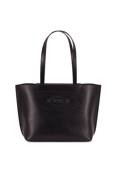 Tod's - Black Leather Logo Stamp Medium Shopping Tote