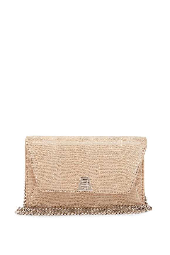 Akris Anouk Cashmere Lamé Lizard Envelope Shoulder Bag