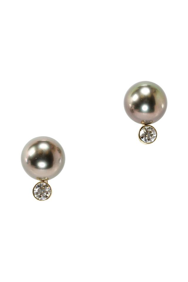 Yellow Gold Tahitian Pearl Diamond Earrings