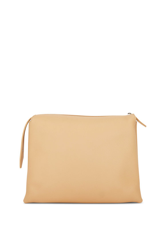 The Row Nutwin Camel Leather Crossbody  Bag