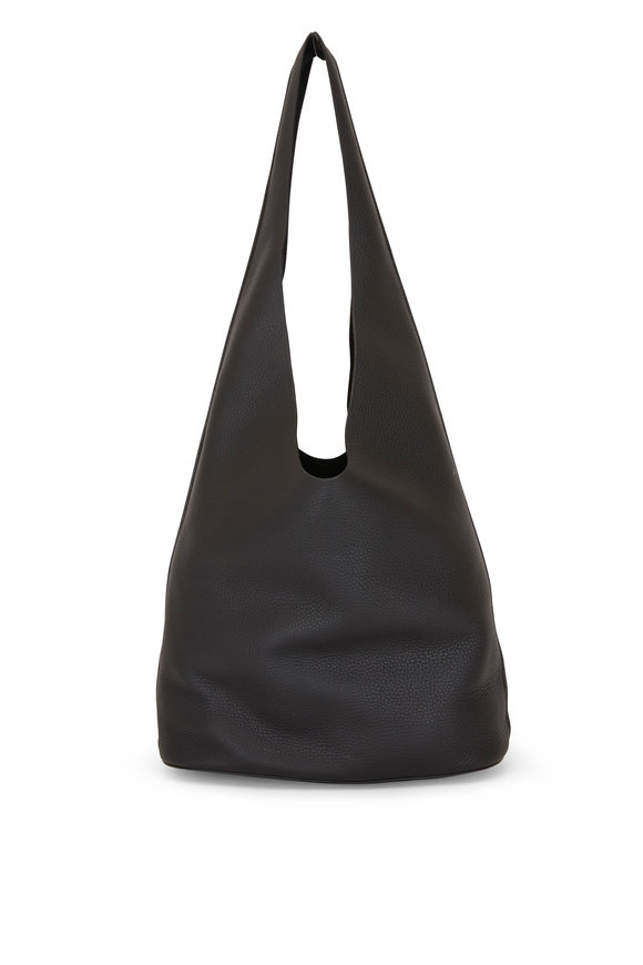 The Row Black Grained Leather Bucket Bag