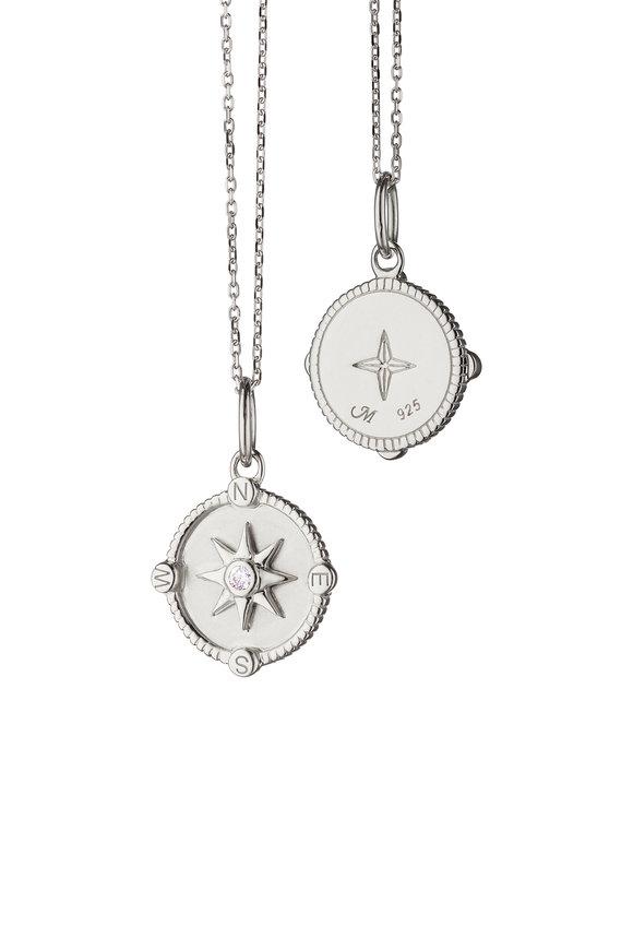 Monica Rich Kosann Sterling Silver White Sapphire Compass Charm
