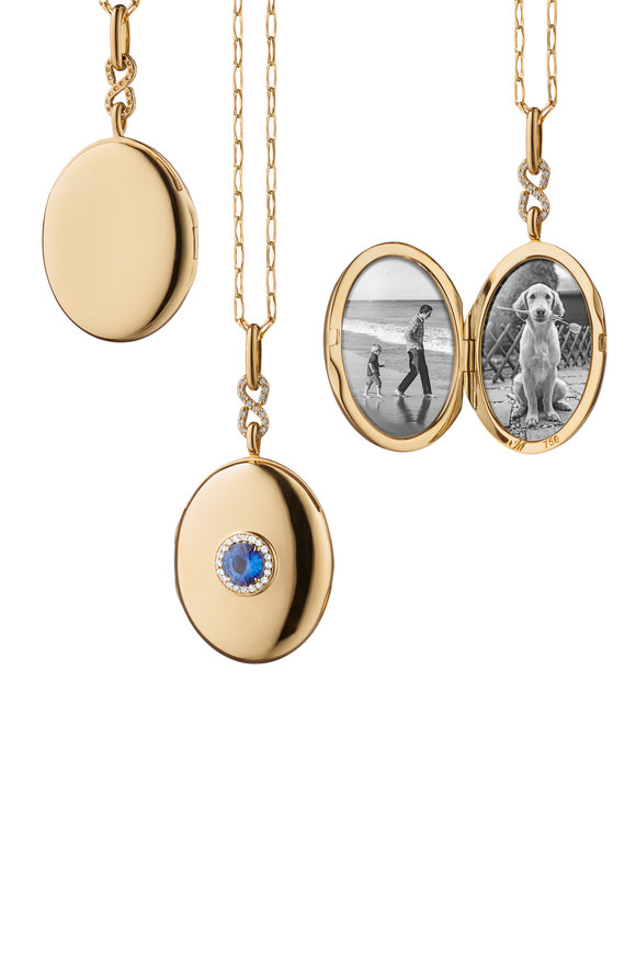 Monica Rich Kosann 18K Yellow Gold Oval Single Sapphire Locket