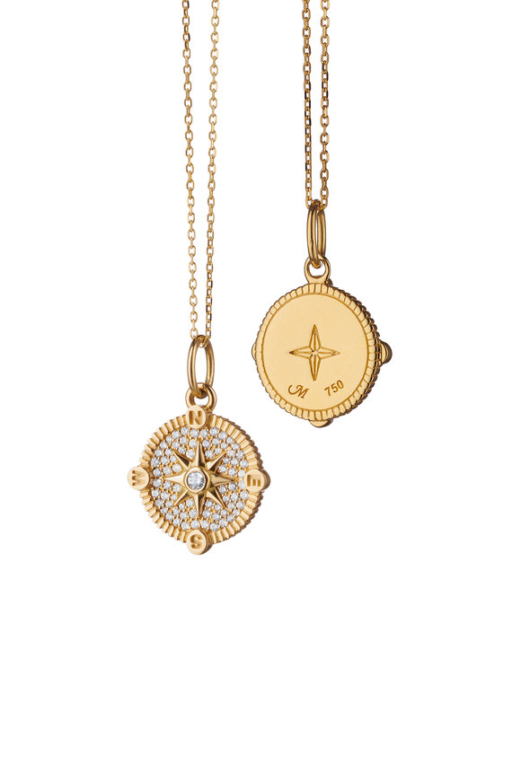 Monica Rich Kosann Yellow Gold Pavé Compass Charm Necklace
