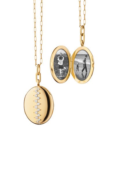 Monica Rich Kosann - Yellow Gold Scattered Diamond Oval Locket