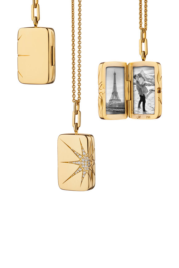 Monica Rich Kosann Yellow Gold Rectangle Star Locket