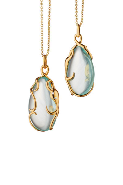 Monica Rich Kosann - 18K Yellow Gold Octopus Aquamarine Charm Necklace