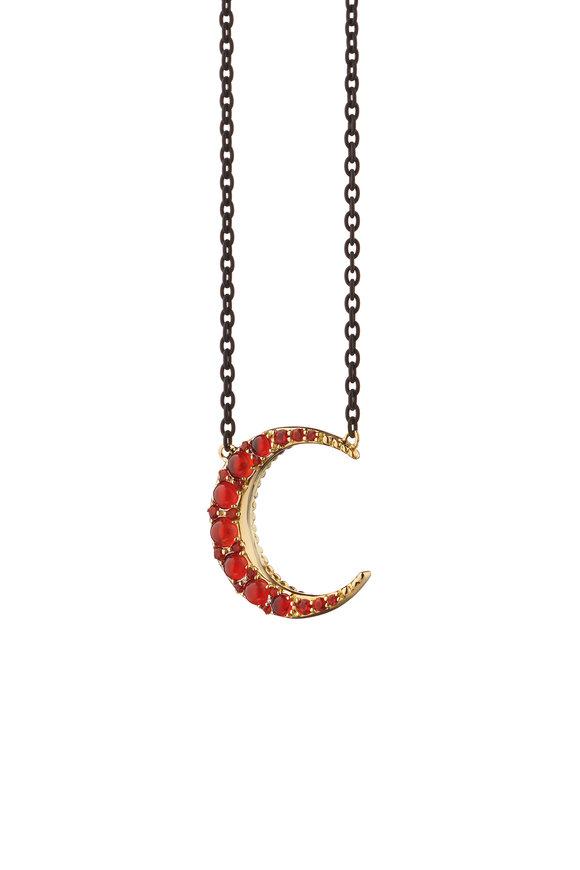 Monica Rich Kosann Yellow Gold Red Fire Opal Crescent Moon Necklace