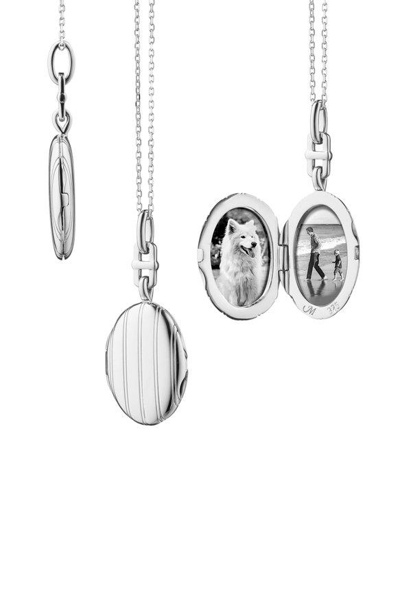 Monica Rich Kosann Sterling Silver Oval Pinstripe Locket