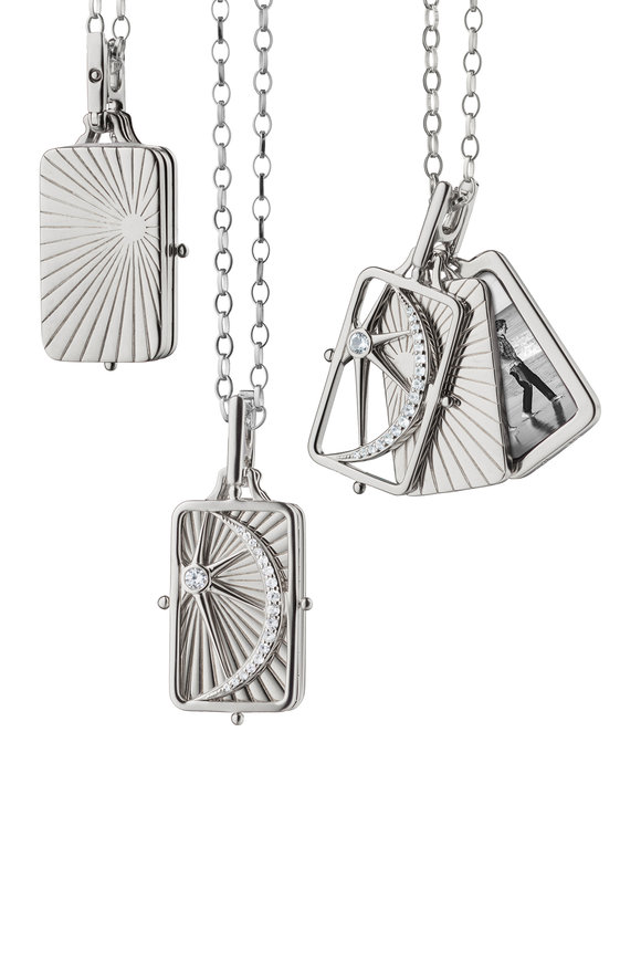 Monica Rich Kosann Sterling Silver Rectangle Sun, Moon & Stars Locket