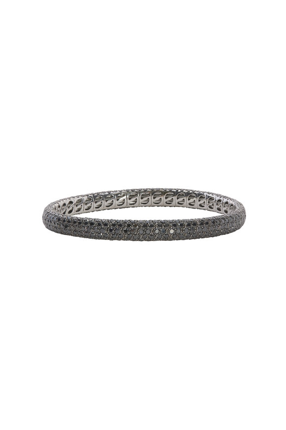 Sidney Garber White Gold Black Diamond Stretch Bracelet