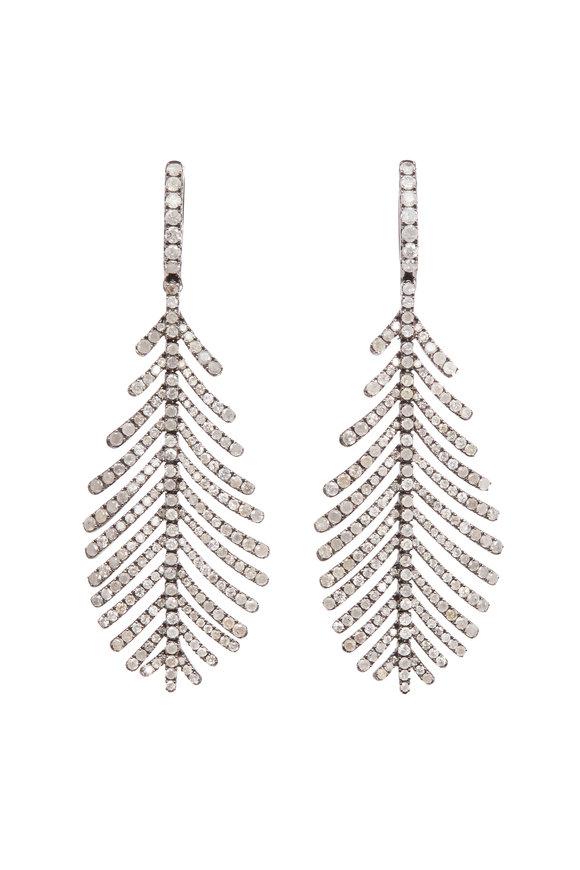 Sidney Garber 18K White Gold Gray Diamond Plume Earrings