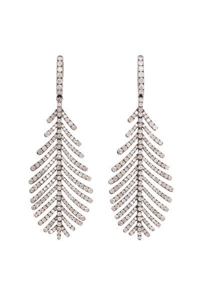 Sidney Garber - 18K White Gold Gray Diamond Plume Earrings