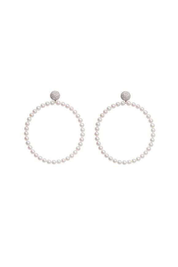 Sidney Garber 18K White Gold Pearl Hoops