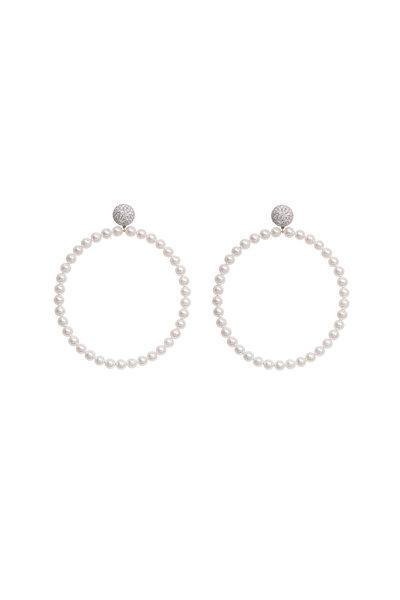 Sidney Garber - 18K White Gold Pearl Hoops