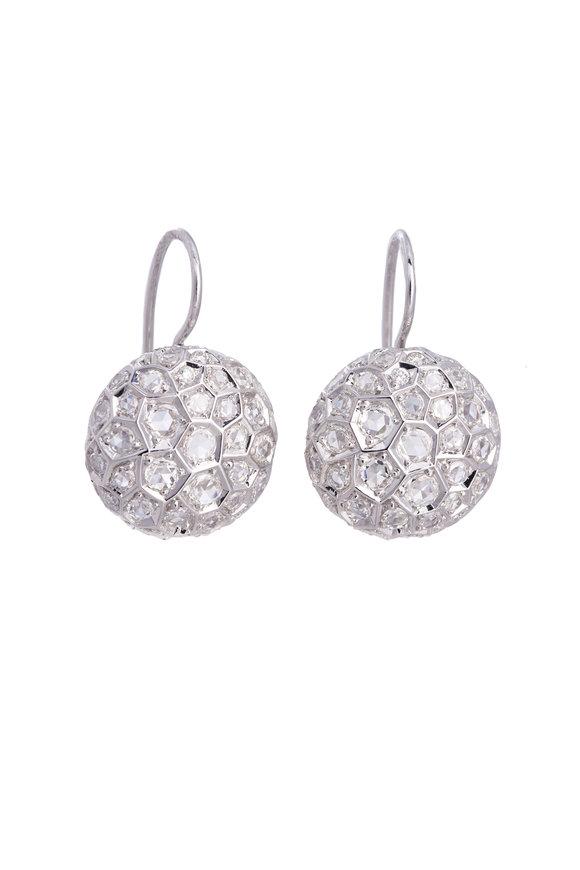 Sidney Garber 18K White Gold Honeycomb Drop Earrings