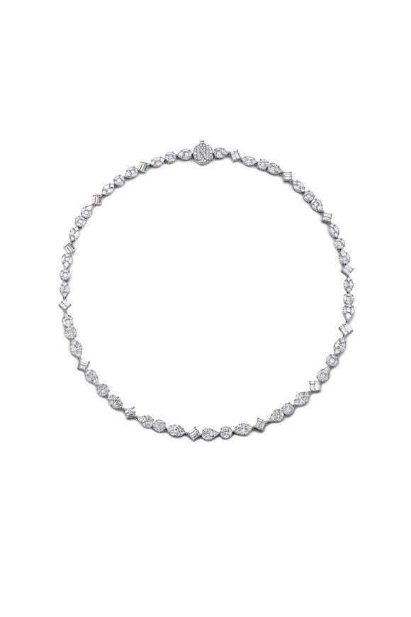 Nam Cho 18K White Gold Multi Shape Diamond Necklace