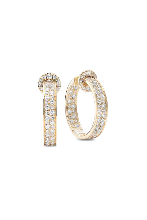 Nam Cho 18K Yellow Gold Diamond Modern Hoops