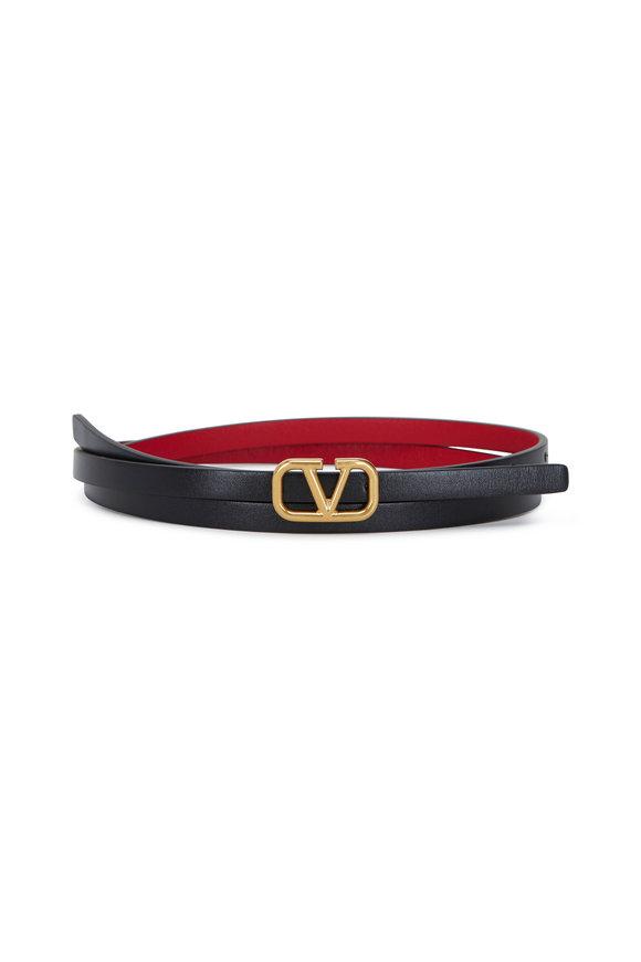 Valentino Garavani Black & Red Leather V Logo Belt